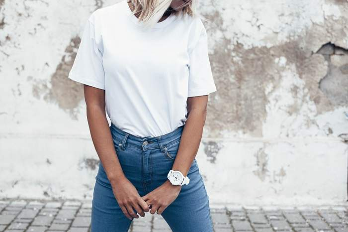 simple white tee and jeans